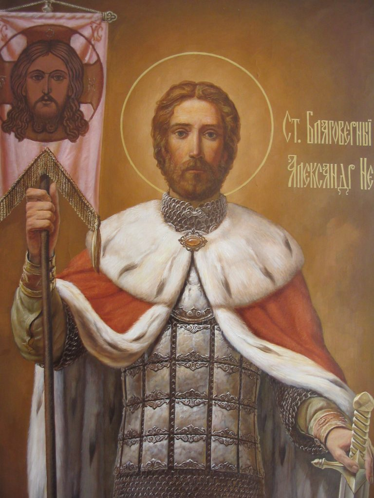 Св. Александр Невский (фрагмент) 250х140см Холст, масло на стене второго яруса Церкви в п. Вырица