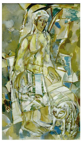 Девушка и кот. 1998. х.м. 118х69